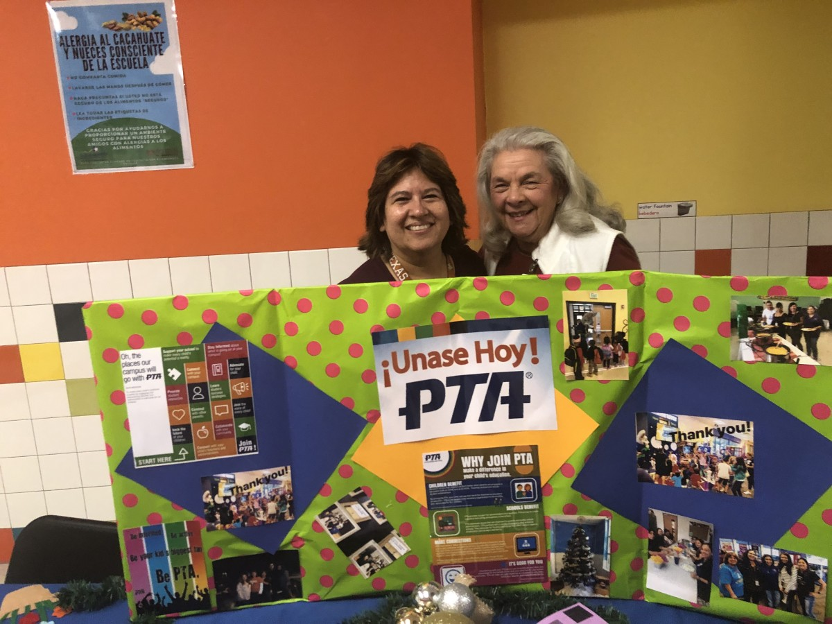 Anita Uphaus and Linda Perez at a PTA event.